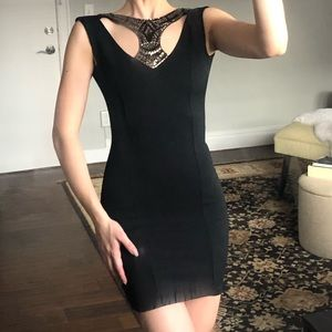 Black beaded cut out drop back body-con dress
